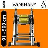 WORHAN® 5m (16' 4'') Double Telescopic Foldable Extendable Multipurpose Aluminium A Frame Robust Ladder Step Ladder (..5m A-line) K5A