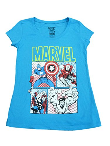 Marvel Mighty Fine Womens Blue Iron Man Avengers Fitted Short Sleeve Shirt