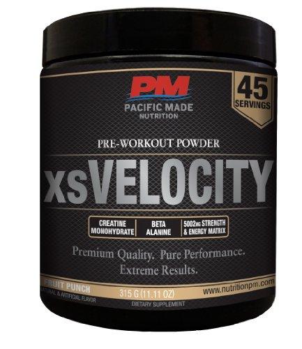 Xsvelocity Pre-Workout Powder / Contains Beta Alanine, L-Arginine Akg, Creatine Monohydrate, Caffeine & More / 45 Servings (Fruit Punch)