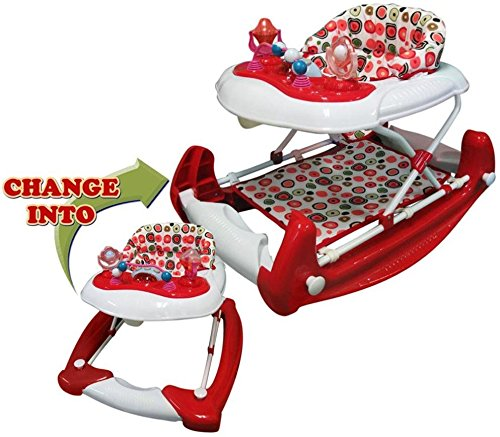 Big Oshi 2 In 1 Baby Activity Walker And Rocker, Red/White