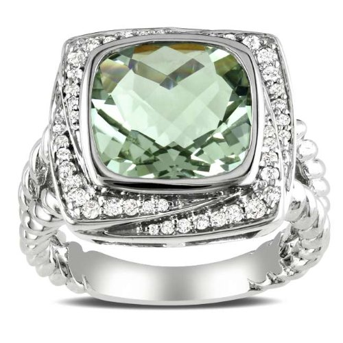 Sterling Silver, Diamond and Green Amethyst Ring, (.25 cttw, GH Color, I2-I3 Clarity)