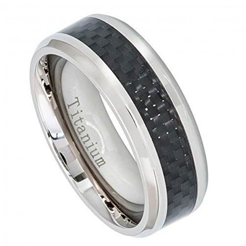 8Mm Titanium Wedding Band High Polish With Black Carbon Fiber Inlay (8.5)