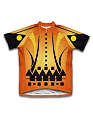 Orange Distorted Short Sleeve Cycling Jersey for Women