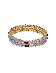 Alluring Pair Of Bangles Made In Metal Studded With Emerald, Ruby & A.D Stones