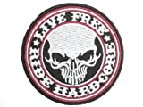 LIVE FREE RIDE HARDCORE Military Biker Skull Embroidered Iron On Sew On Patch Applique 3