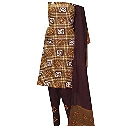 APKAMART Women Cotton Tie and Dye or Rajasthani Bandhej Brown - Unstitched Dress Material - 2.2 Meters