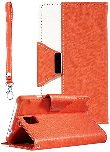 myLife Vibrant Orange and Bright White {Luxury Fashion Design} Faux Leather (Card, Cash and ID Holder + Magnetic Closing) Slim Wallet for Galaxy Note 3 Smartphone by Samsung (External Textured Synthetic Leather with Magnetic Clip + Internal Secure Snap In Closure Hard Rubberized Bumper Holder)