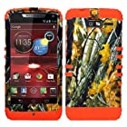 CellPhone Trendz Hybrid 2 in 1 Case Hard Cover Faceplate Skin Orange Silicone and Camo Mossy Hunter Oak Big Branch Snap Protector for Motorola DROID RAZR M (XT907