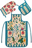 Chef's 3 pc Kitchen Set Collection Blue Floral - Apron, Oven Mit and Potholder