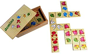 PIGLOO 28 Pieces Wooden Animal Dominoes Playing Set in Wooden Box for Kids Ages 3+ Years