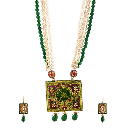 Red Manirathnum Green,White,Red Brass,Semi Precious Stones Kundan Meena Pattern Necklace Set 129.00 Grams For Women (Multicolor)
