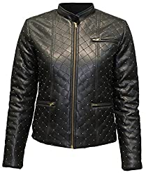 Attuendo Women's Limited Edition Quilted and Beaded Faux Leather Biker Jacket