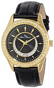 Lucien Piccard Women's LP-12721-YG-01 Staz Gold Ion-Plated Stainless Steel Watch with Black Leather Band