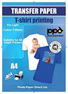 A4 Inkjet Iron On Transfers Paper / T Shirt Transfers - Light T Shirt x 20 Sheets