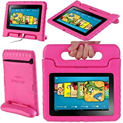 i-Blason ArmorBox Kido Series for Amazon Kindle Fire HD 7 Inch Tablet Light Weight Super Protection Convertable Stand Cover Case Kids Friendly (Not Compatible with the Original Kindle Fire or Kindle Fire HD 8.9) (Pink)