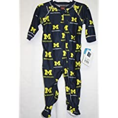 Michigan Wolverines Infant Footed Full Zip Raglan Piped Coverall Sleeper by OuterStuff