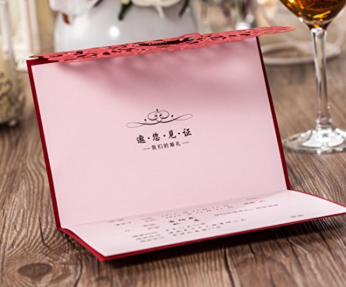 Wishmade 100x Elegant Red Laser Cut Wedding Invitation Cards Kits with Lace Bow Paper Cardstock for Bridal Shower Engagement Birthday Baby Shower Quinceanera(set of 100pcs) 5