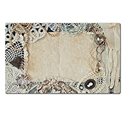 MSD Natural Rubber Large Table Mat 28.4 x 17.7 x 0.2 inches Vintage frame of female accessories IMAGE 26789479