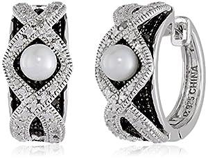 Sterling Silver Freshwater Cultured Pearl Hoop Earrings (0.8