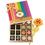 Valentine Chocholik Premium Gifts - Simply Paradise Collection Of White And Dark Chocolate Box With 24k Gold Plated...