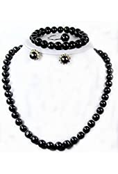 "8.0~10.0mm Freshwater Cultured Black Pearl Necklace (16.5"" length)/Bracelet (7.0"" length)/Ring/Ear Ring Set"