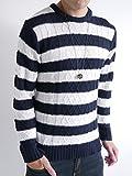 (オークランド) Oakland ケーブル編み ニット セーター フィッシャーマン ケーブル デザイン カジュアル トップス 編み MODE メンズ ネイビー・オフホワイト LLサイズ