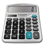 Calculator, Everplus Electronic Desktop Calculator with 12 Digit Large Display, Solar Battery LCD Display Office Calculator (Silver)