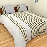 MGM KHADI 35 TC Khadi Cotton Double Bedsheet with 2 Pillow Covers - Stripe, King Size, White
