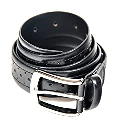 Quero Men's Buff Aniline Punch Pattern Formal Belt (4007_Black_Large)