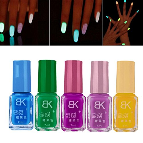 Willtoo 5 PCS Candy Fluorescent Neon Luminous Gel Nail Polish for Glow in Dark Nail (Neon Nail Polish Glow In The Dark compare prices)