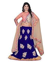 Khodiyar Creation Women's Velvet Lehenga Saree (Blue)
