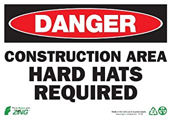 """Zing Eco Safety Sign, Header """"DANGER"""", """"CONSTRUCTION AREA HARD HATS REQUIRED"""", 10"""" Width x 7"""" Length, Recycled Plastic, Red/White/Black (Pack of 1)"""