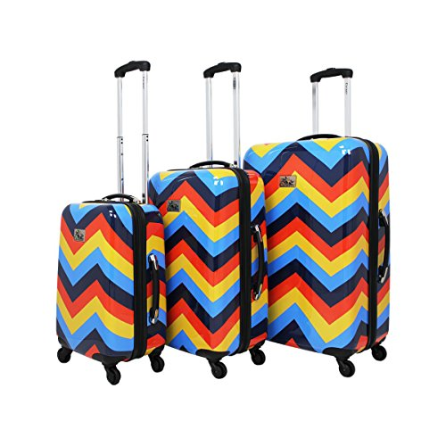 Chariot Chevron 3-Piece Hardside Upright Spinner Luggage Set - Color