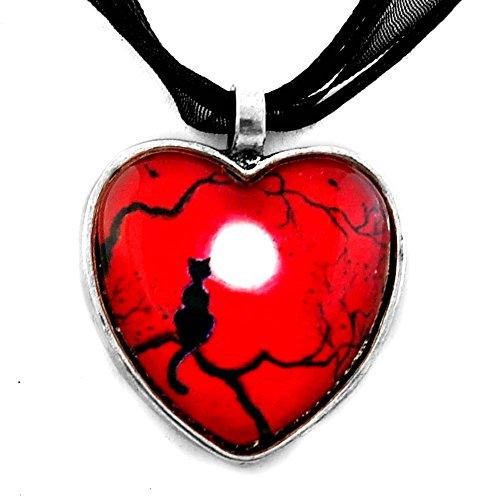 Black Cat Necklace Red Valentine Heart Pendant Handmade Jewelry