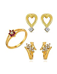 Combo Of Two Pair Of Earring And A Finger Ring Made With Crystal And CZ For Women CO1104107G