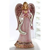 Pack of 4 Red Mosaic Religious Easter Angel Figures 8.6