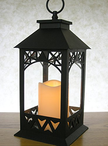Black-Plastic-Decorative-Lantern-LED-Pillar-Candle-with-5-Hour-Timer-Roof-and-Hanging-Ring-13H