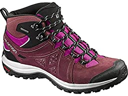 Salomon Women\'s Ellipse 2 Mid Leather GTX Hiking Boots Pinot Noir / Deep Dalhia / Bubble Blue 10