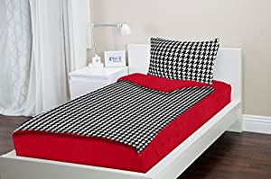 Zipit Bedding Set, Twin, Red Houndstooth - Zip-Up Your Sheets and Comforter Like a Sleeping Bag!