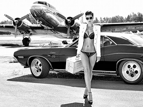 Girl Miss Tuning Dodge Challenger Muscle Car B/W 20x26 Poster (Muscle Cars Poster compare prices)