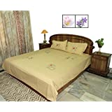 Amita's Home Furnishing Embroided Mustard Yellow Cotton Bed Linen