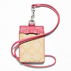 Coach Signature Bow Lanyard Khaki Coral 64191 by Coach