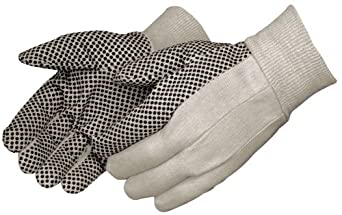 Liberty 4505 8 oz Cotton Canvas Men's Glove with Black PVC Dots On Palm (Pack of 12)
