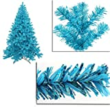 4' Pre-Lit Sky Blue Full Artifical Sparkling Tinsel Christmas Tree- Teal Lights