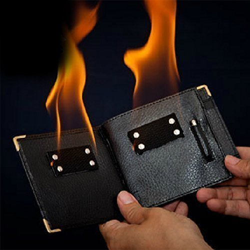 Click to open expanded view {Factory Direct Sale} Magic Trick Gimmick Flame Fire Bifold Wallet Leather Magician Stage Street Inconceivable Show Prop by Men's diary [並行輸入品]