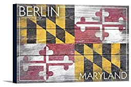 Berlin, Maryland State Flag - Barnwood Painting (36x24 Gallery Wrapped Stretched Canvas)