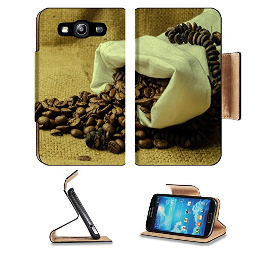 Coffee Beans In Burlap Sack 3Dcom Galaxy S3 Flip Cover Case With Card Holder Customized Made To Order Support Ready Premium Deluxe Pu Leather