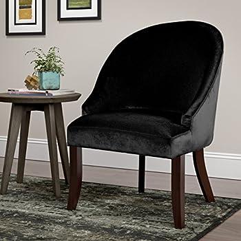 CorLiving DAD-301-C Antonio Accent Chair in black Velvet, Regular, Espresso, Black
