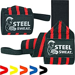 Steel Sweat Wrist Wraps for Weight Lifting, Crossfit, Powerlifting, Bodybuilding. Heavy Duty for best wrist support. Brace and Guard Your Wrists for Weightlifting. Premium Grade 18\