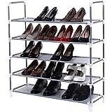 Songmics ULSR05G Non-woven Fabric 5-Tiers Shoe Storage Organizer, Grey